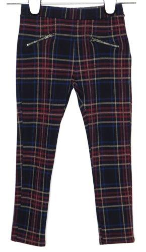 NWT Zara Girls Black Red Blue Plaid Stretch Skinny Leg Pants 7  Zip Pockets