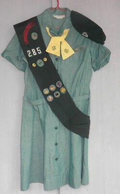 1960s JUNIOR / INTERMEDIATE GIRL SCOUT UNIFORM Dress Hat Sash Halloween Costume - Girl Scout Uniform Costume