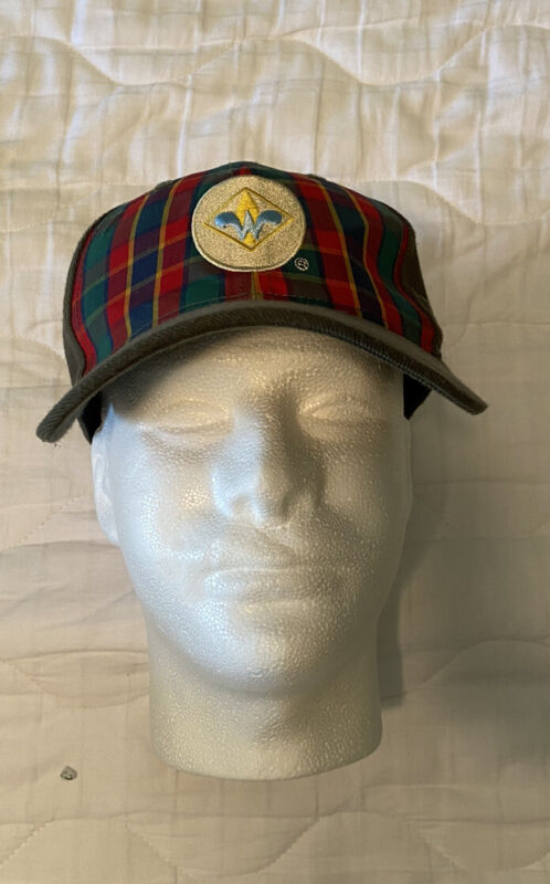 Webelos Boy Scouts Stretch Fitted Hat Cap Logo Plaid Green