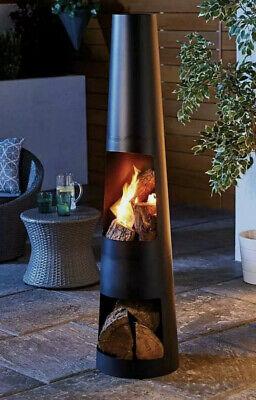 Garden Chimenea Steel Chimnea Chiminea ✅Patio Heater BBQ Chimney Fire Pit Black✅