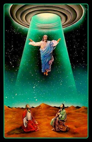 "4.25"" Jesus descending from a UFO vinyl sticker. Quality Alien, God decal 4 car."