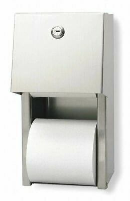 New Toilet Paper Dispenser Covered 2 Roll Vertical Regular Stainless 57893
