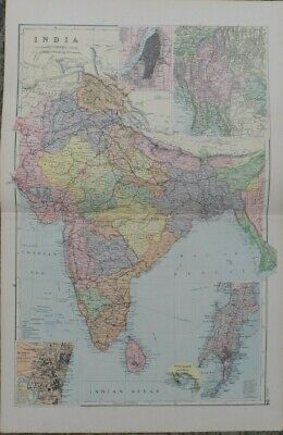 Antique map - India - printed paper 19th c - for framing - 35x54  cm