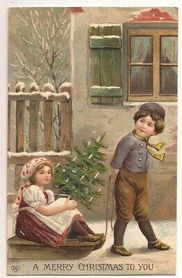 1908 CHRISTMAS GERMAN POSTCARD BOY PULLING LITTLE GIRL ON SLED EMBOSSED Little German Girl