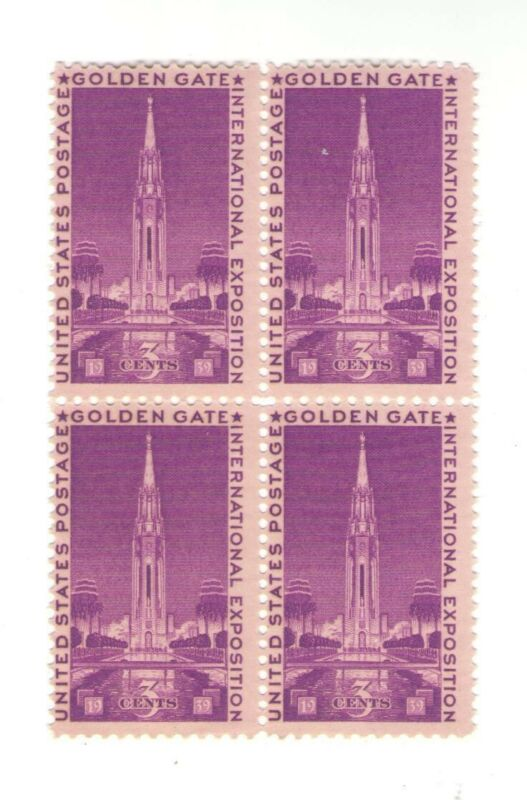 Golden Gate Exposition 82 Year Old Mint Vintage Stamp Block from 1939