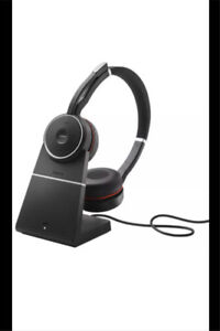 New Jabra Evolve 75 MS Stereo Wireless Headset w/ Charging Stand
