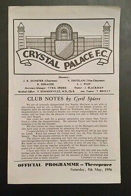 Crystal Palace v International Managers XI Friendly Programme 05/05/56
