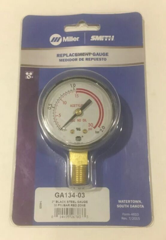 "Acetylene Miller Smith GA134-03 2"" 30 PSI / 2 BAR Replacement Gauge"