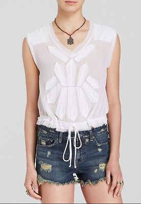 Womens Pennies - NWT Free People Womens Large White Pennies Storyteller Sheer Boxy Blouse