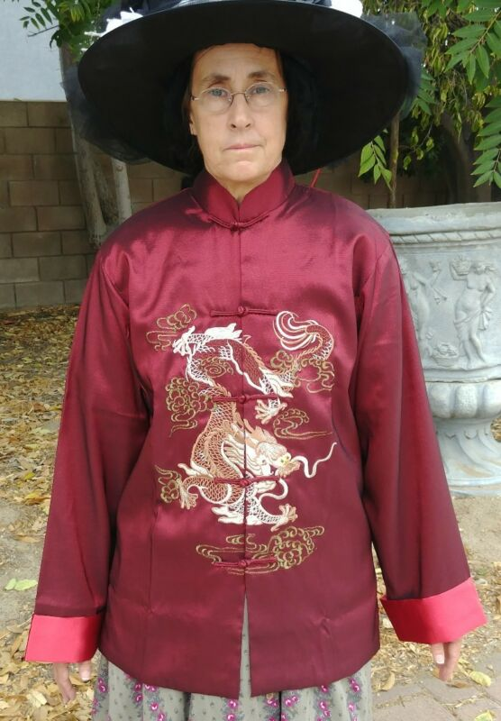 Mens Womens Elizabeth Swan Pirate King Chinese Style Jacket Size M Brick Red NEW