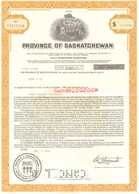 Province of Saskatchewan > 1983 Canada $100,000 bond certificate