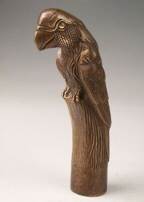RARE CHINA BRONZE HAND-CARVED PARROT STATUE WALKING STICK HEAD OLD COLLEC