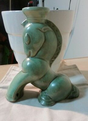 Vintage Shearwater Pottery Sitting Horse Lamp Base Bottom Marked 3 Times