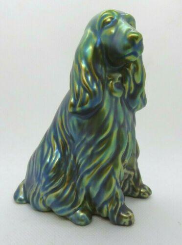 Hungarian Zsolnay Eosin Porcelain Spaniel Dog Figurine c.1950