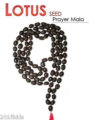 Lotus Seed Kamal Gatta Japa Mala 108 +1 Beads Prayer Hindu Meditation - USA Sell