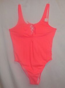 Victoria's Secret PINK Swimsuit M Lace Up Front Neon One Piece Strappy Plunge