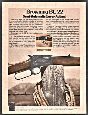 1974 BROWNING BL-22 Semi-Automatic Lever Action Rifle PRINT AD Gun Advertising ()