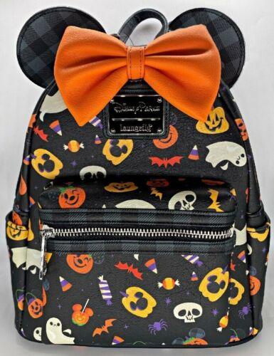 Disney Parks Loungefly Halloween Minnie Mouse Bow Pumpkin 2021 Mini Backpack