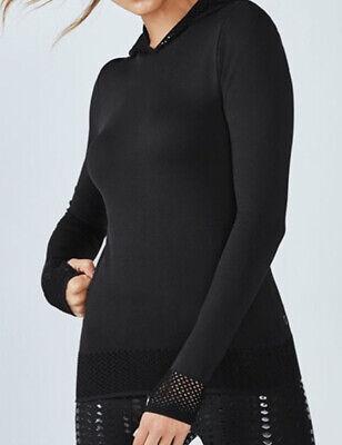 Fabletics Megan Seamless Hooded Black Pullover Top SM