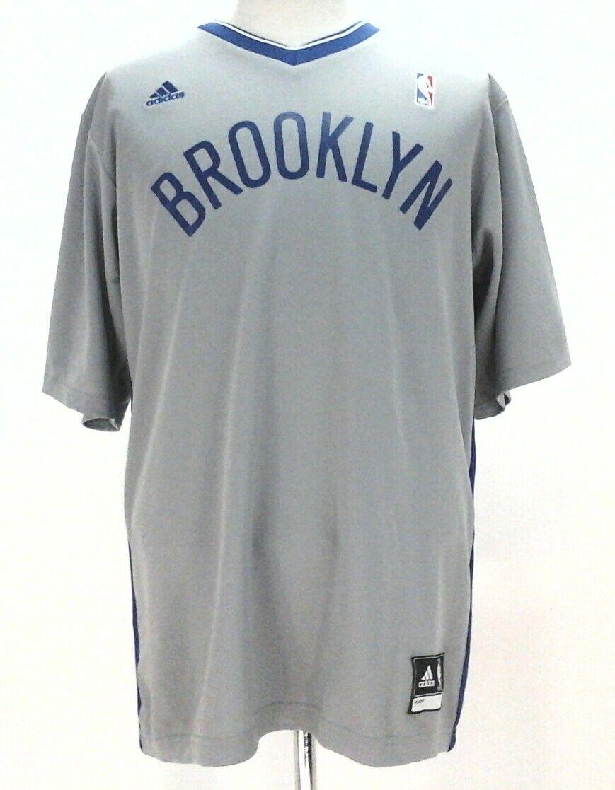 a26347e14 Adidas Brooklyn Nets NBA Mens Basketball Jersey Gray Blue Short Sleeve New   70