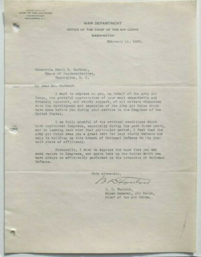 General Benjamin Foulois Pioneer Military Air Force Aviator Signed Letter