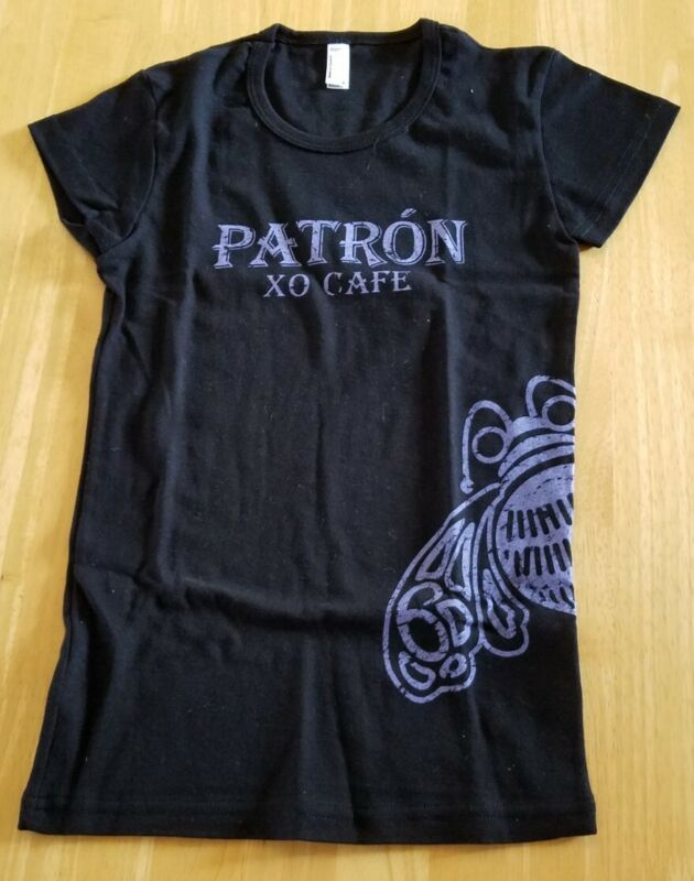 NEW- Patron Tequila XO, Black, Ladies Adult T-shirt, Size Small