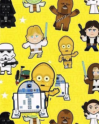 STAR WARS CARTOON GIFT WRAP 2 SHEETS AND 2 GIFT TAGS NEW GIFT 9043