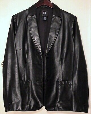 NWOT Gap Genuine Leather Jacket Womens Vintage L Black Button Casual wear 54023
