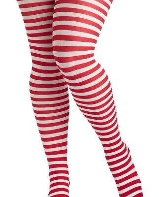 Adult Plus 1X Red White Striped Tights Christmas Holiday Jolly Elf Santas Helper](Red Striped Tights)
