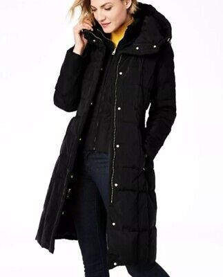 Cole Haan Signature Black Coat Down Feather Puffer Bib Hood PS Petite Small (Cole Haan Signature Hooded Down Puffer Coat)