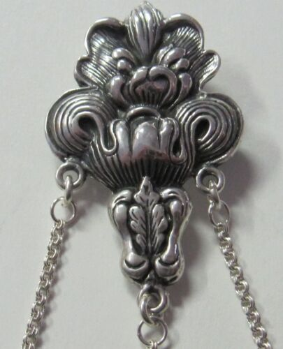 ACANTHUS ORNATE  STERLING SILVER CHATELAINE PIN - NEW