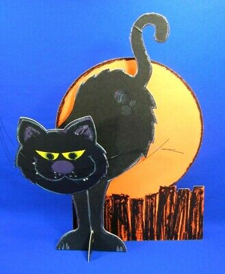 Vintage Hallmark Halloween Cardboard Cutout 3D Cecil The Black Cat