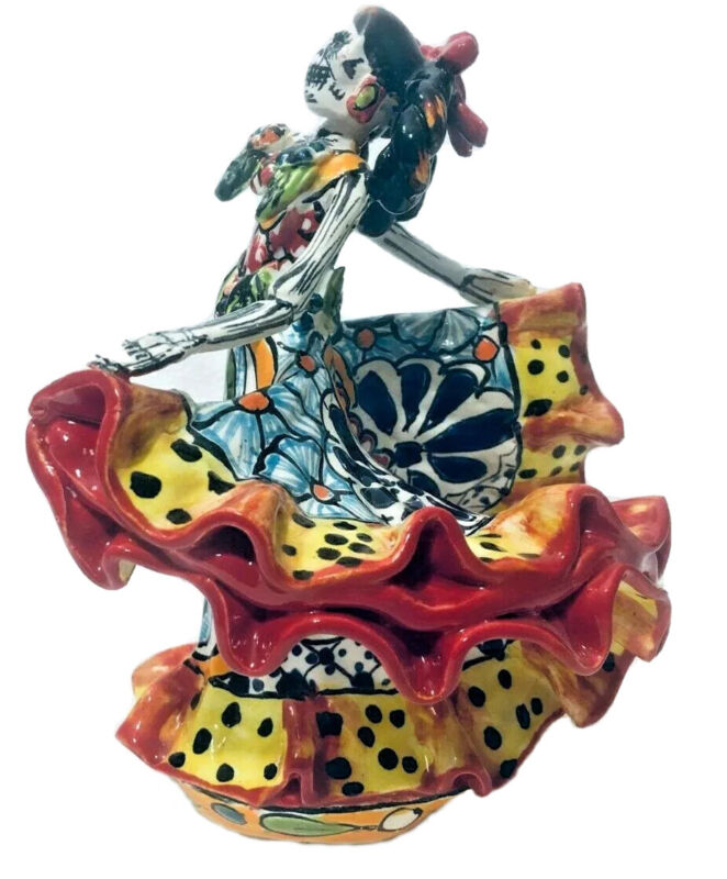 "Talavera Catrina 8"" Day of the Dead Mexican Pottery Art Twirling Dancer"