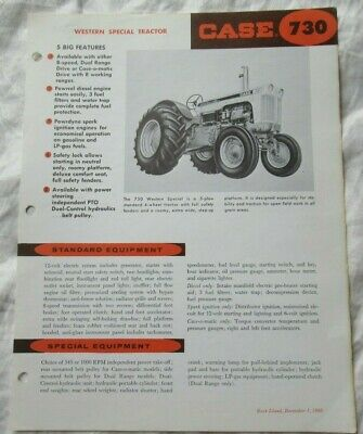 Case 730 Tractor Specification Sheet Brochure Western Special Tractor