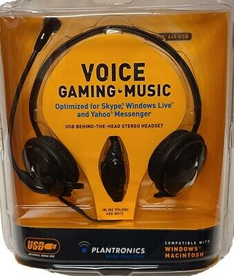 NEW 2007 PLANTRONICS Music Gaming Voice Stereo Headset USB Multimedia MAC/WINDOW
