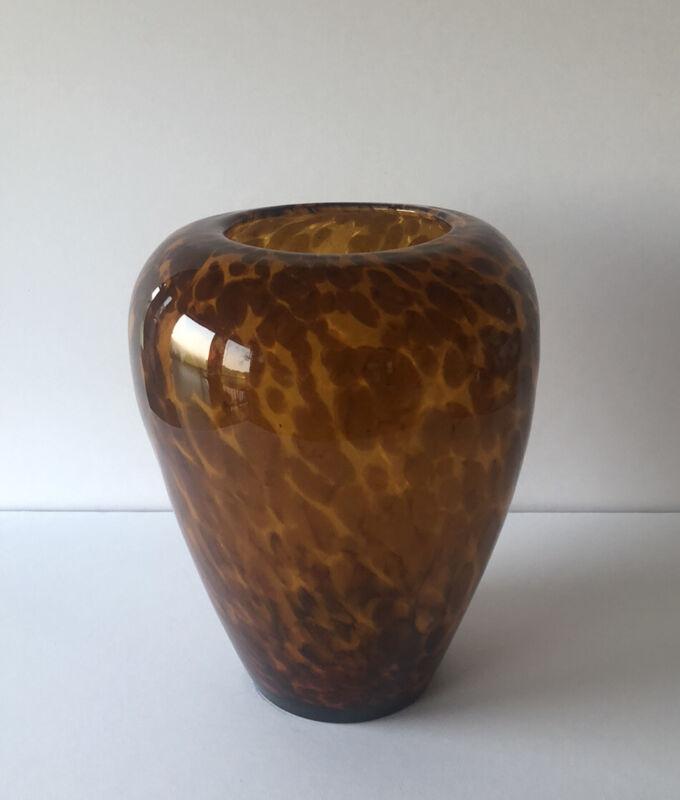 """MURANO STYLE ART GLASS TORTOISE SHELL BROWN & GOLD FLECK 8 1/2"""" VASE"""