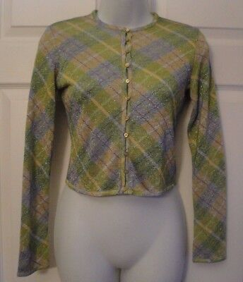 John Galliano Green Viscose Shimmer Argyle Sweater Cardigan Button Top S Italy