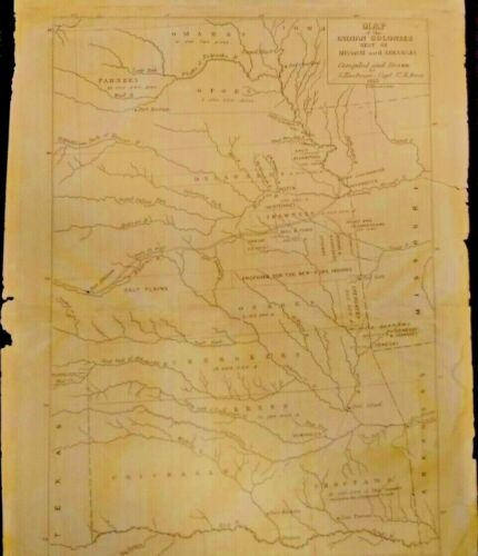 RARE MAP OF THE INDIAN COLONIES WEST OF MISSOURI AND ARKANSAS.1853 COLLECTIBLE.