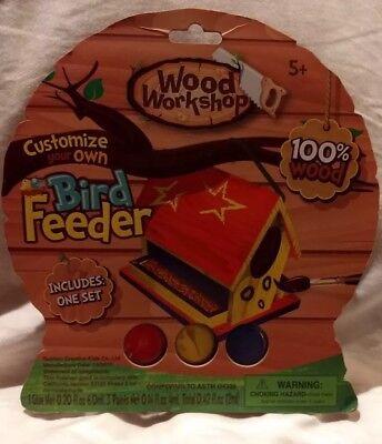 Bird Feeder Wood Workshop DIY Glue Paint Brush String Pre-cut Creative Kids New
