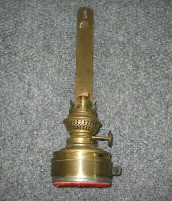 Antique Wall Hanging Oil Lamp By Brenner W/ Kosmos Burner Brass Vintage No Glass