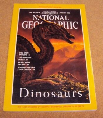 National Geographic January 1993 Dinosaurs Wyoming Power Of Money Colca Canyon