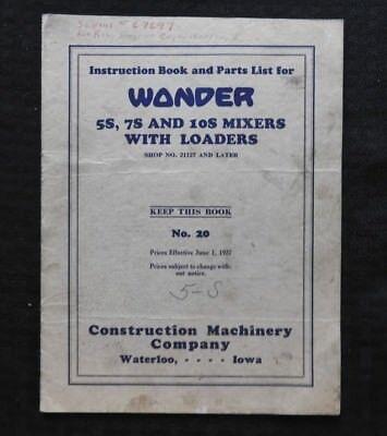 1927 Wonder 5s 7s 10s Concrete Cement Mixer Parts Catalog Operators Manual Old