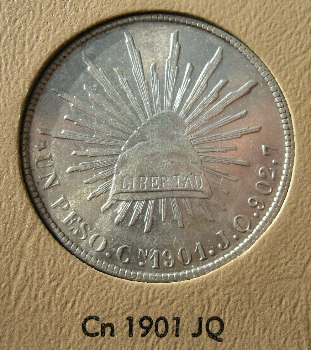 Mexico 1901 Cn JQ Silver Liberty Cap Peso Coin 14 Almost Uncirculated - $69.49
