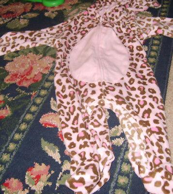 NEW NIP Halloween Costume Sleeper 3 - 6 mo pink cheetah leopard hooded baby girl