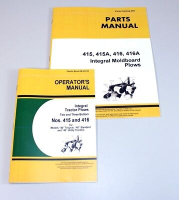 Operators Parts Manuals For John Deere 415 416 Integral Moldboard Plow Catalog