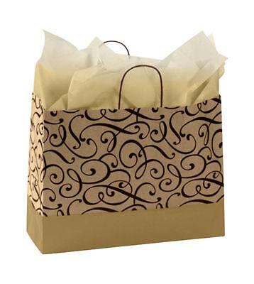 Paper Shopping Bags 25 Chocolate Gold Swirl Gift Merchandise 16 X 6 X 12 Kraft