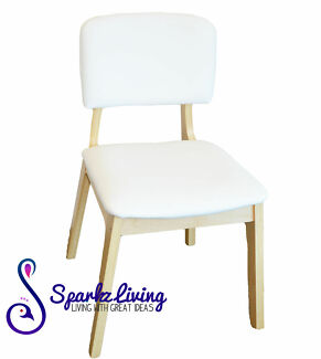 White PU Leather Plywood Dinning / Coffee Chair