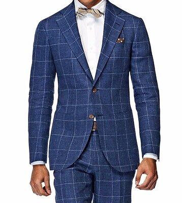 Custom Made Windowpane Men Suit,Tailor Made Navy Blue Windowpane Check Men Suits