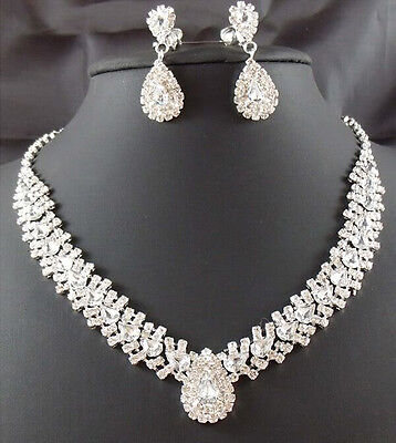 Women Bridal Wedding Party Crystal Rhinestone Earrings Necklace Set CCUS