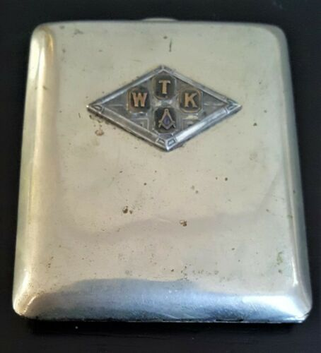 Vintage WTK Masonic Freemason Cigarette Case - FREE SHIPPING
